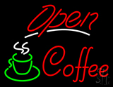 Red Open Coffee with Glass LED Neon Sign