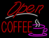 Red Open Coffee LED Neon Sign