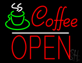 Red Coffee Block Open LED Neon Sign