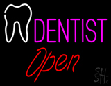 Pink Dentist White Tooth Open LED Neon Sign