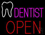 Pink Dentist Tooth Logo Block Open LED Neon Sign