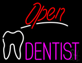 Red Open Pink Dentist Tooth Logo LED Neon Sign