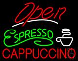 Red Open Espresso Cappuccino LED Neon Sign