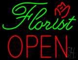 Green Florist Block Red Open LED Neon Sign
