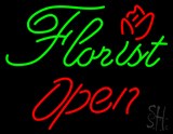 Green Florist Red Open LED Neon Sign