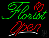 Green Florist Red Open Red Line LED Neon Sign