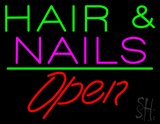 Green Hair And Nails Open LED Neon Sign