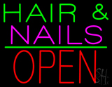 Green Hair and Nails Pink Block Open LED Neon Sign