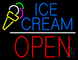 Blue Ice Cream Block Open Red LED Neon Sign