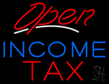 Red Open Blue Income Tax LED Neon Sign
