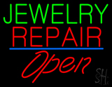 Jewelry Repair Open Blue Line LED Neon Sign