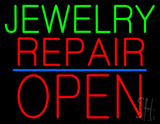 Jewelry Repair Block Open Blue Line LED Neon Sign