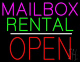 Mailbox Rental Open Block White Line LED Neon Sign