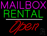 Mailbox Rental White Line Open LED Neon Sign