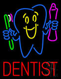 Dentist  Tooth Logo with Brush and Paste Neon Sign