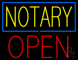 Yellow Notary Blue Border Block Open LED Neon Sign