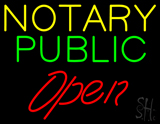 Yellow Green Notary Public Red Open LED Neon Sign