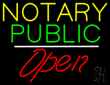 Yellow Green Notary Public White Line Red Open LED Neon Sign