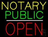 Yellow Green Notary Public White Line Block Open LED Neon Sign