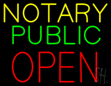 Yellow Notary Public Open LED Neon Sign