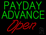 Green Payday Advance Red Open LED Neon Sign