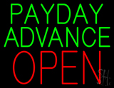 Green Payday Advance Block Open LED Neon Sign