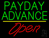 Green Payday Advance Yellow Line Red Open LED Neon Sign