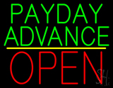 Green Payday Advance Yellow Line Block Open LED Neon Sign