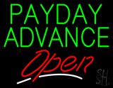 Green Payday Advance Open LED Neon Sign