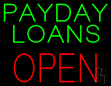 Green Payday Loans Red Block Open LED Neon Sign