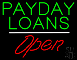 Green Payday Loans White Line Open LED Neon Sign