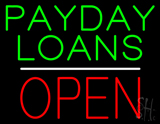 Green Payday Loans White Line Block Open LED Neon Sign