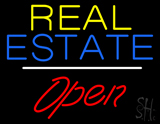 Yellow Real Estate White Line Open Neon Sign