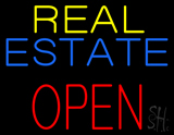 Real Estate Red Open Block Neon Sign