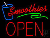 Red Smoothies Block Open LED Neon Sign