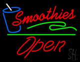 Red Smoothies Slant Open Green Line LED Neon Sign