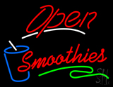 Red Open Smoothies Glass LED Neon Sign