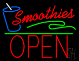 Red Smoothies Block Open Green Line LED Neon Sign