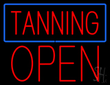 Red Tanning Blue Border Block Open LED Neon Sign