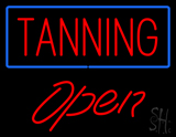 Red Tanning Blue Border Open LED Neon Sign