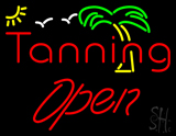 Red Tanning Open with Palm Tree LED Neon Sign