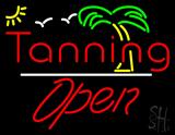 Red Tanning Slant Open White Line LED Neon Sign