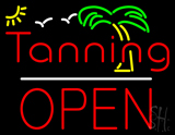 Red Tanning Block Open LED Neon Sign