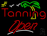 Red Tanning Open White Line with Palm Tree LED Neon Sign