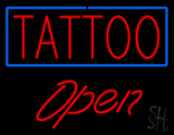 Red Tattoo Blue Border Open LED Neon Sign