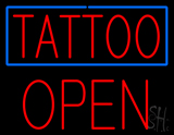 Red Tattoo Blue Border Block Open LED Neon Sign