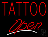 Red Tattoo Open White Line LED Neon Sign