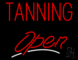Red Tanning Open White Line LED Neon Sign