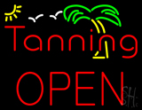 Red Tanning Block Open with Palm Tree LED Neon Sign