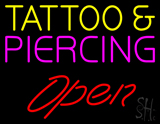 Tattoo and Piercing Red Slant Open LED Neon Sign